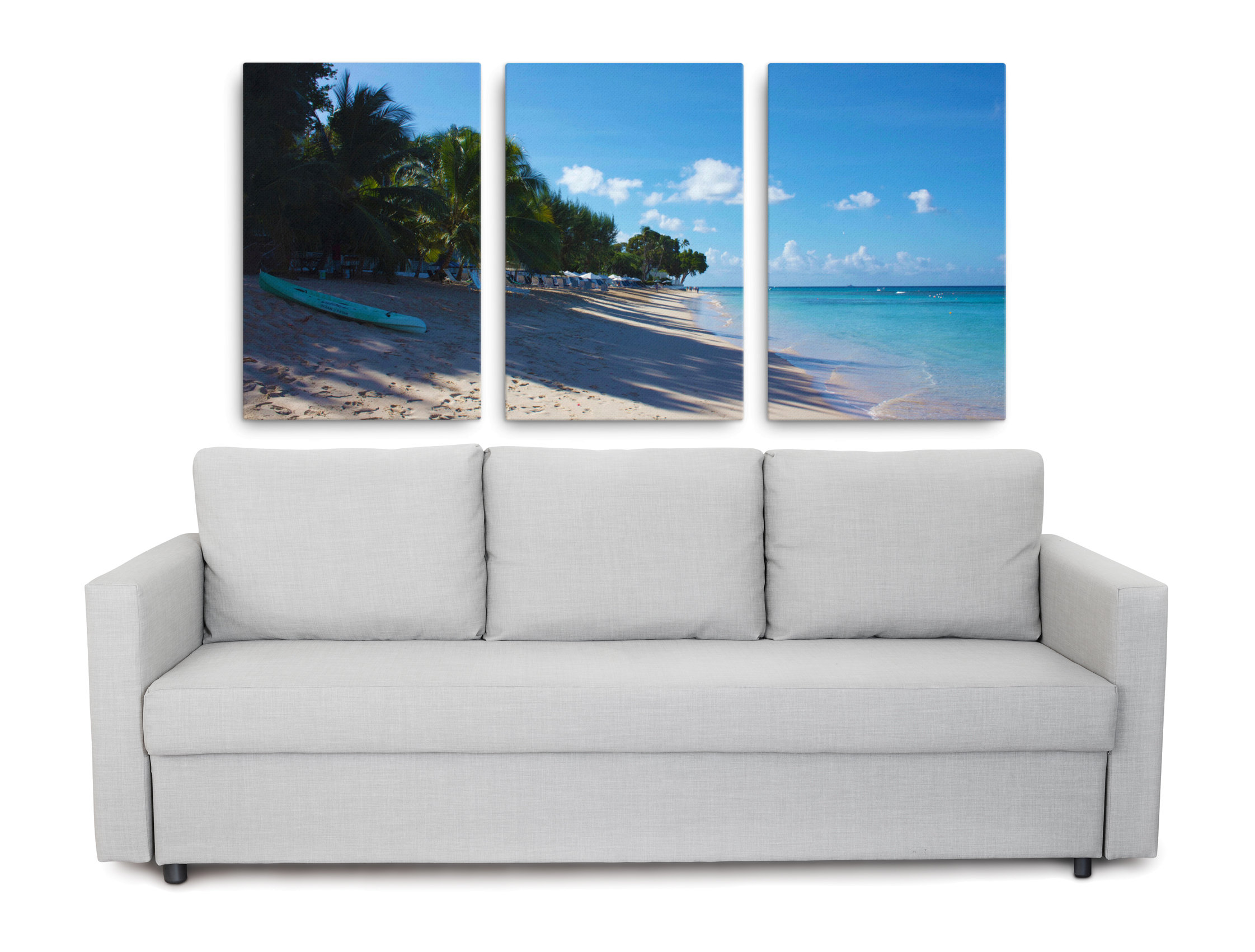 Product picture of a Caribbean beach wrapped canvas set