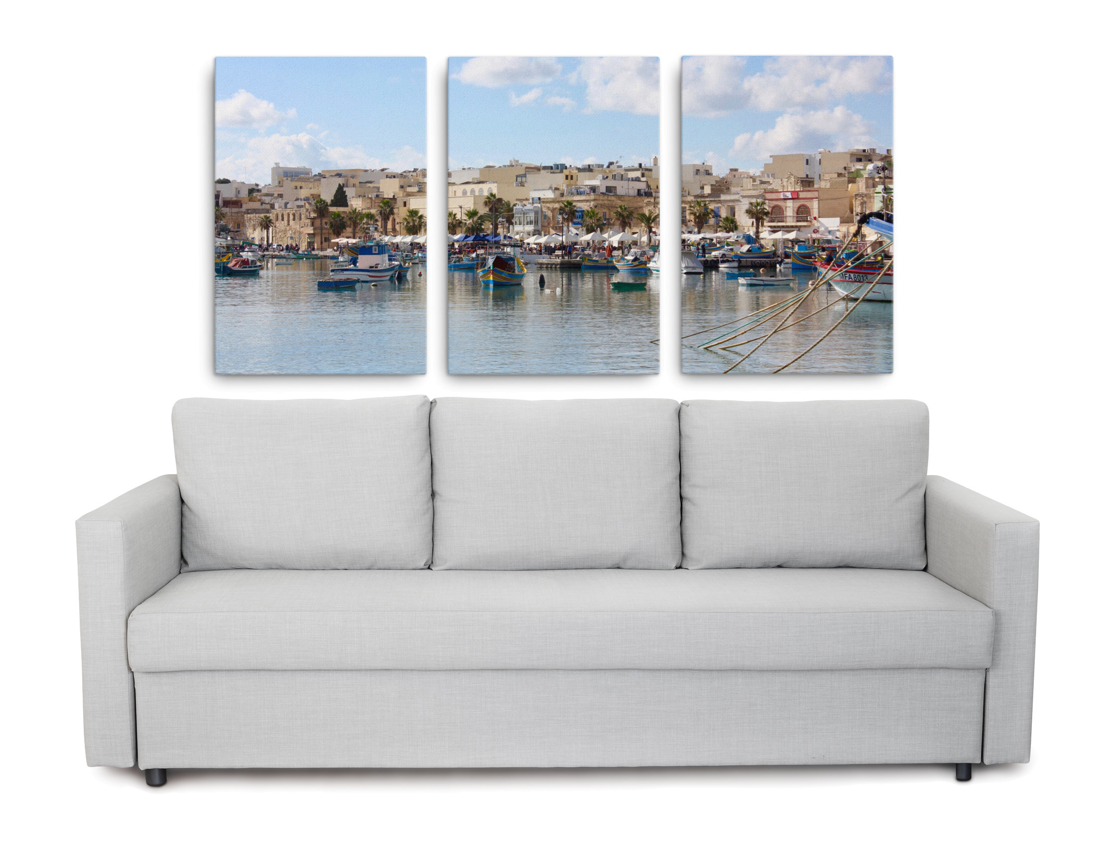 Product picture of a 3-piece set of canvases with Pictures of Malta