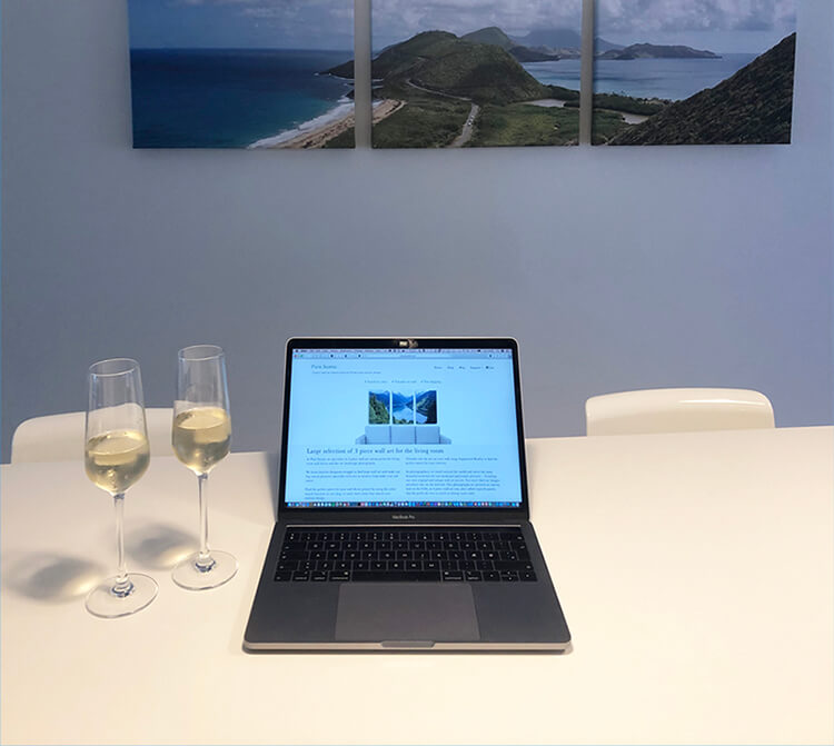 Picture of our celebration of the launch of the Pure Scenic webshop, selling 3 piece wall art for interior design.