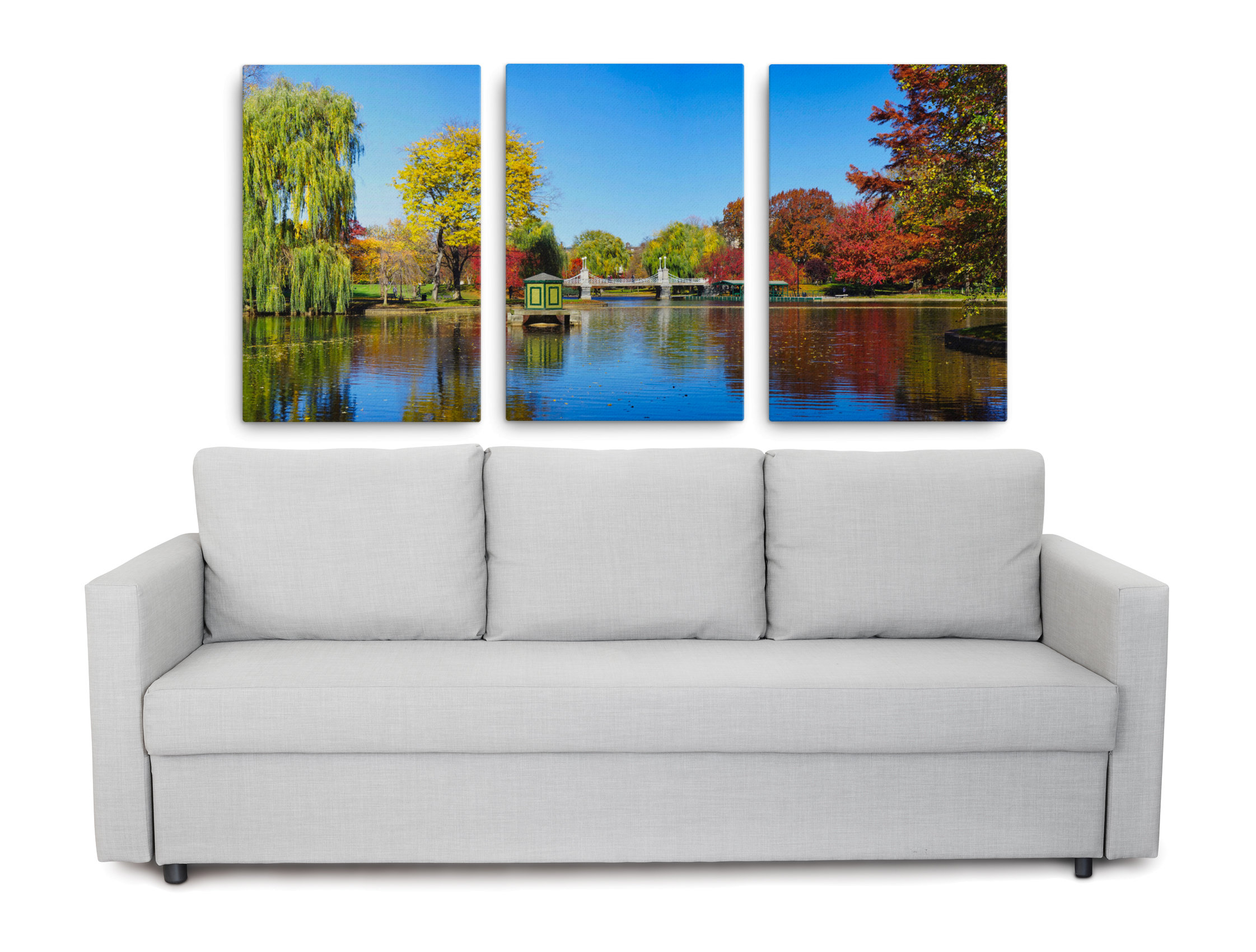 Product picture of our triptych of autumn in Boston Common park