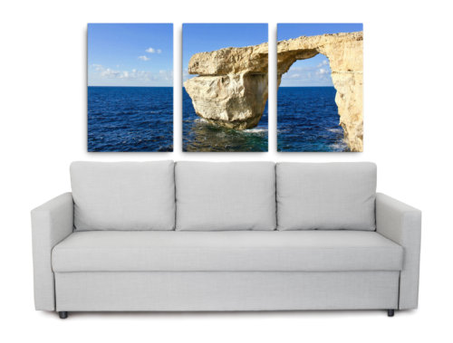 3 piece picture of the now lost Azure Window in Malta
