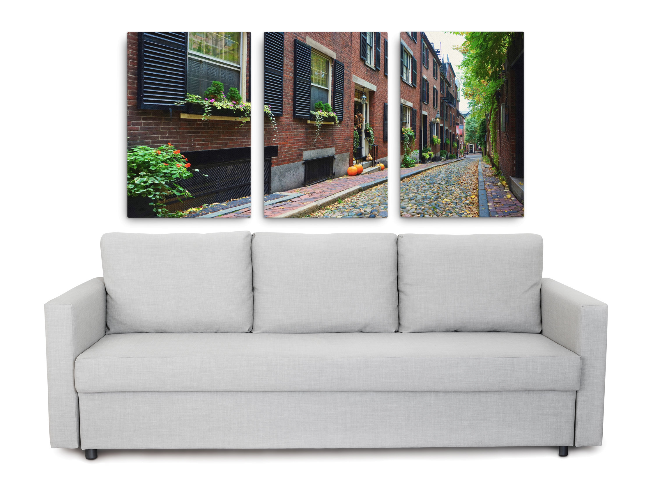 3 Piece wall art picture of Acorn Street on Beacon Hill in Boston