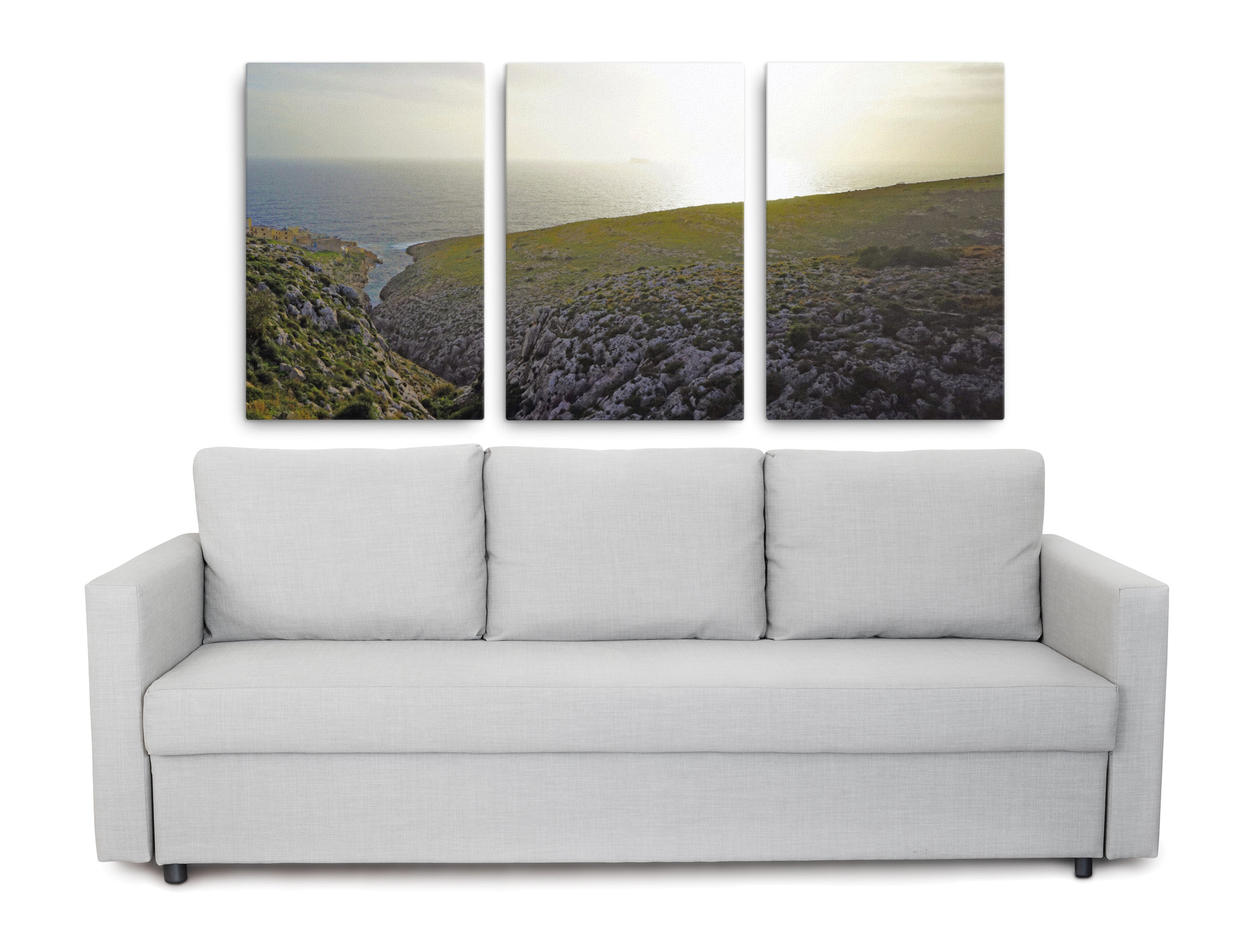 Picture of Filfla island, Malta, printed on canvas as Triptych wall art