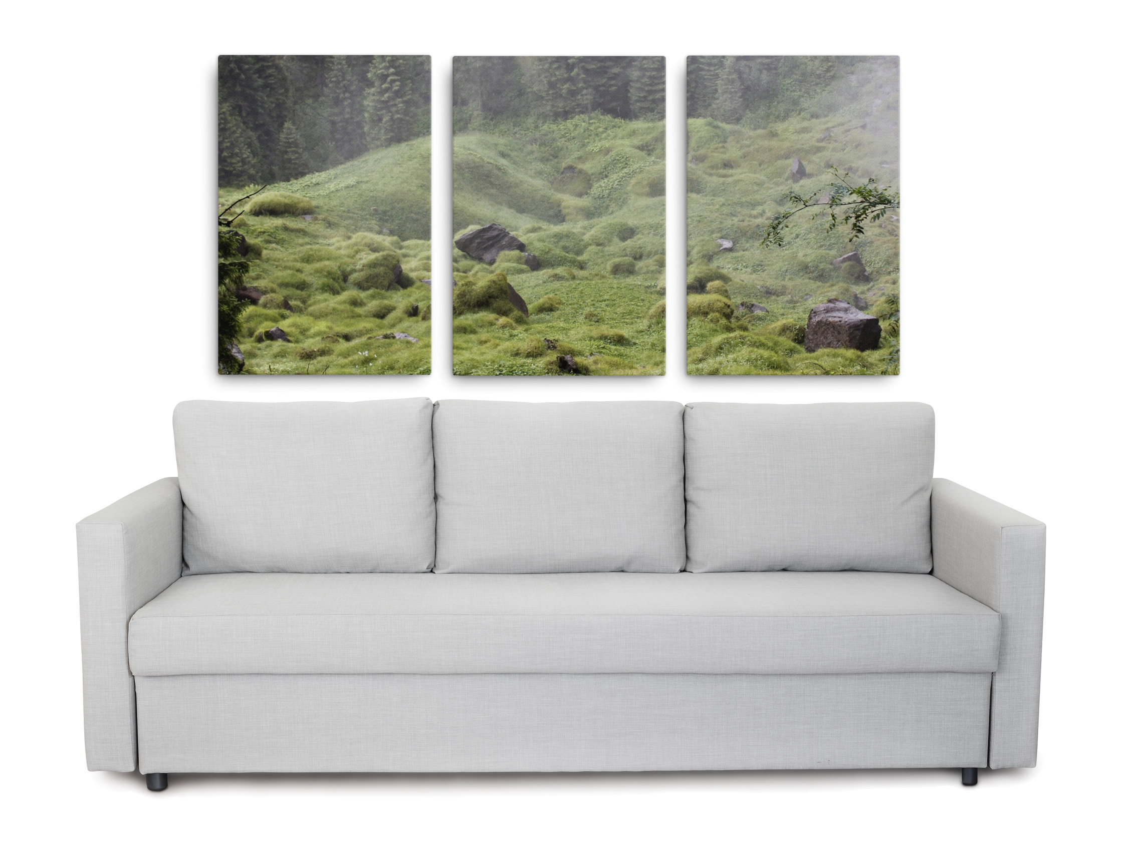 Product picture of set of 3 moss pictures of the forest underground