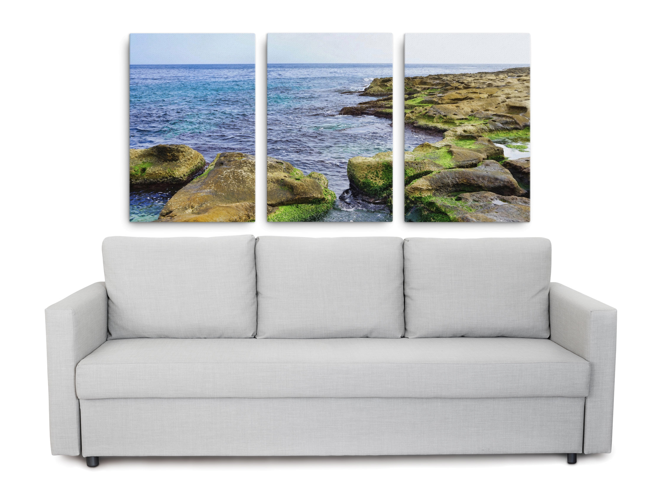 Product picture of a 3 piece ocean art canvas print of a green limestone landscape
