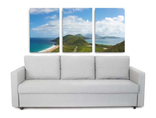 Island pictures of St. Kitts and Nevis printed on canvas as triptych