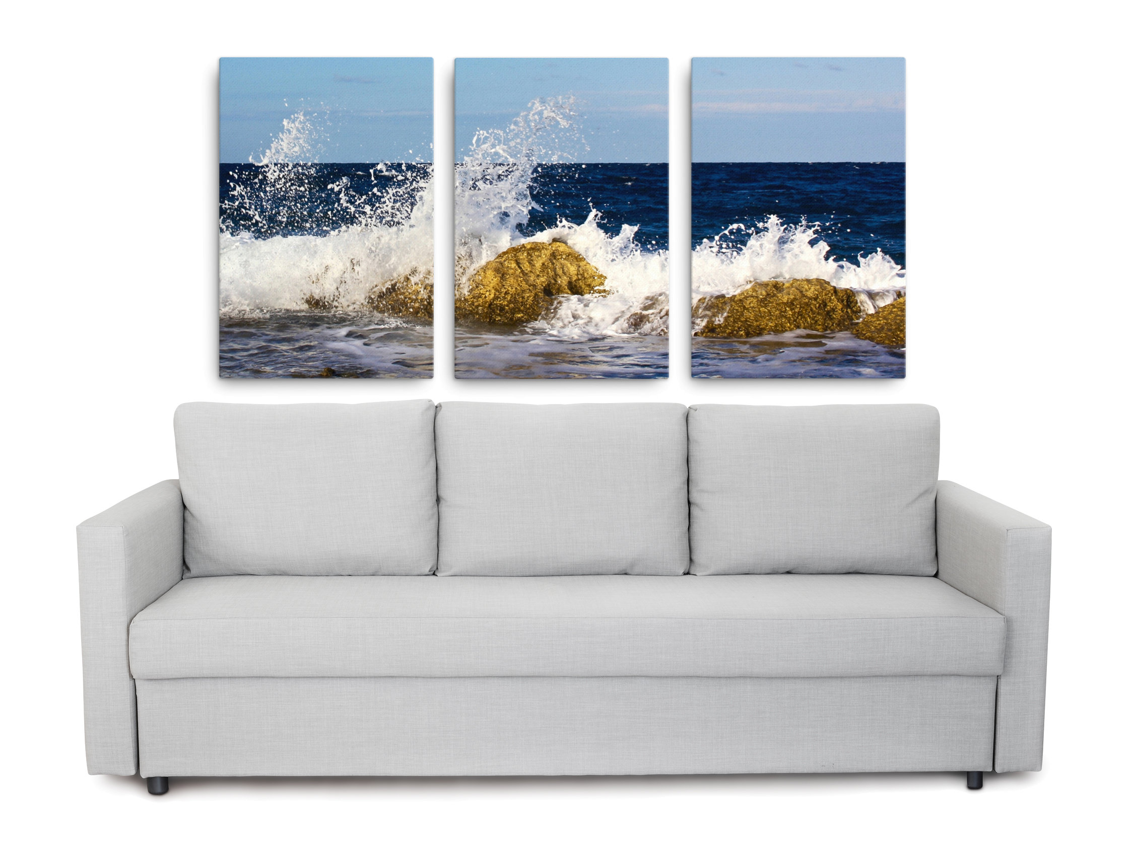 Wall Art Canvas Prints.3 Piece Ocean Wall Art Large Triptych Canvas Set 72x36 Inches