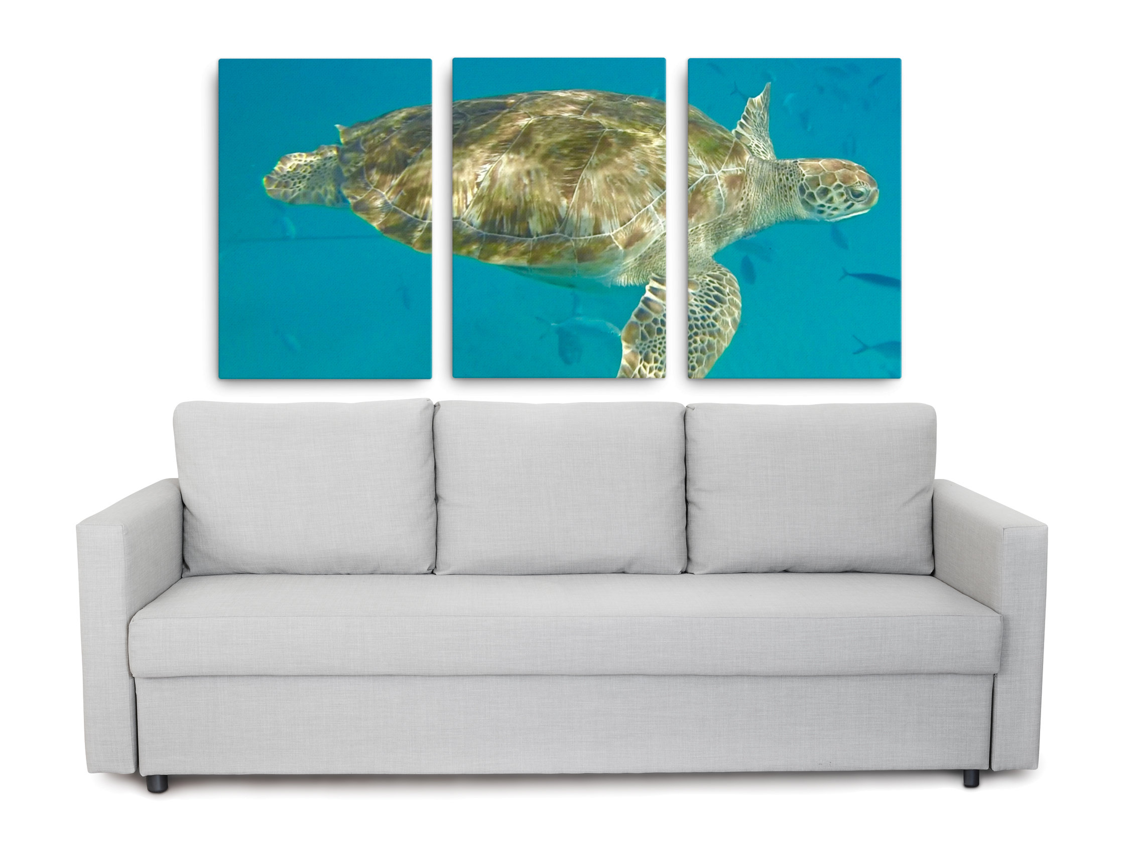 Product picture of sea turtle wall art in the form of a triptych canvas print of an underwater sea turtle picture.