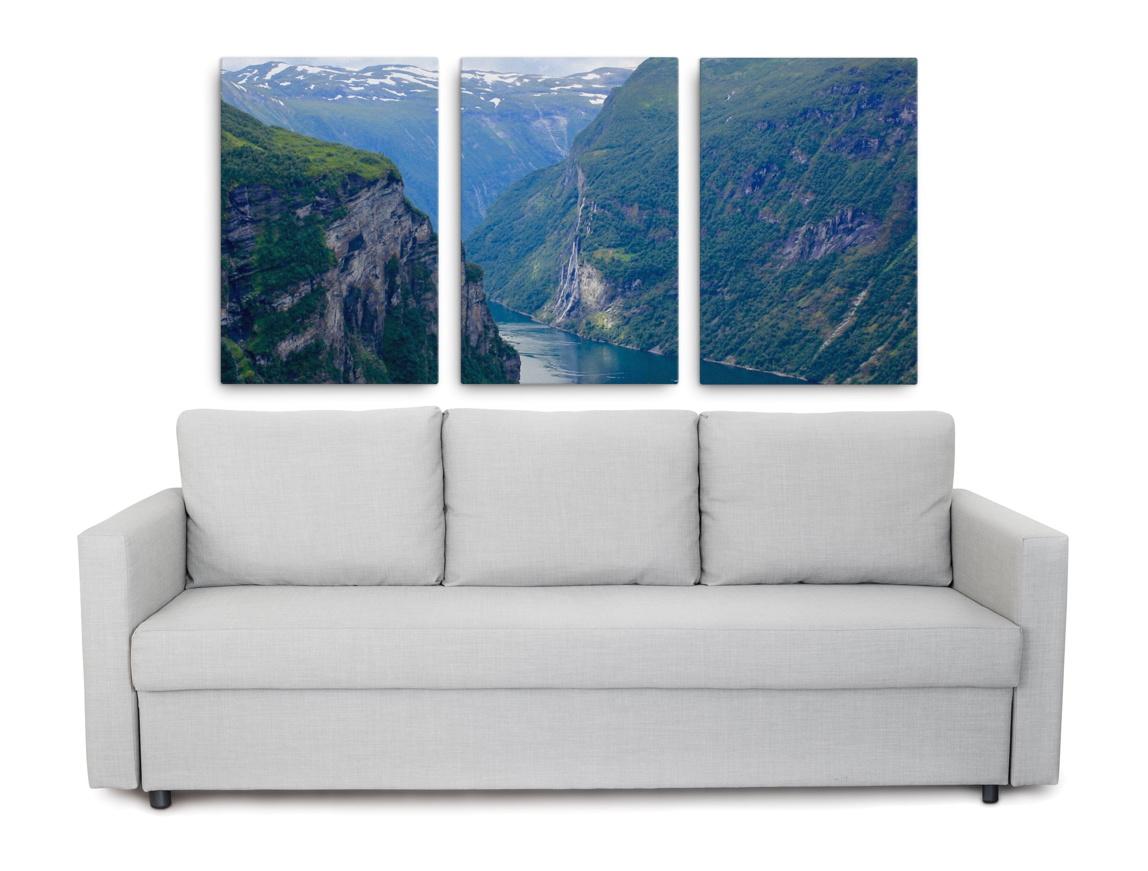 Norwegian Fjord pictures - Triptych picturing the Seven Sisters waterfall, Norway
