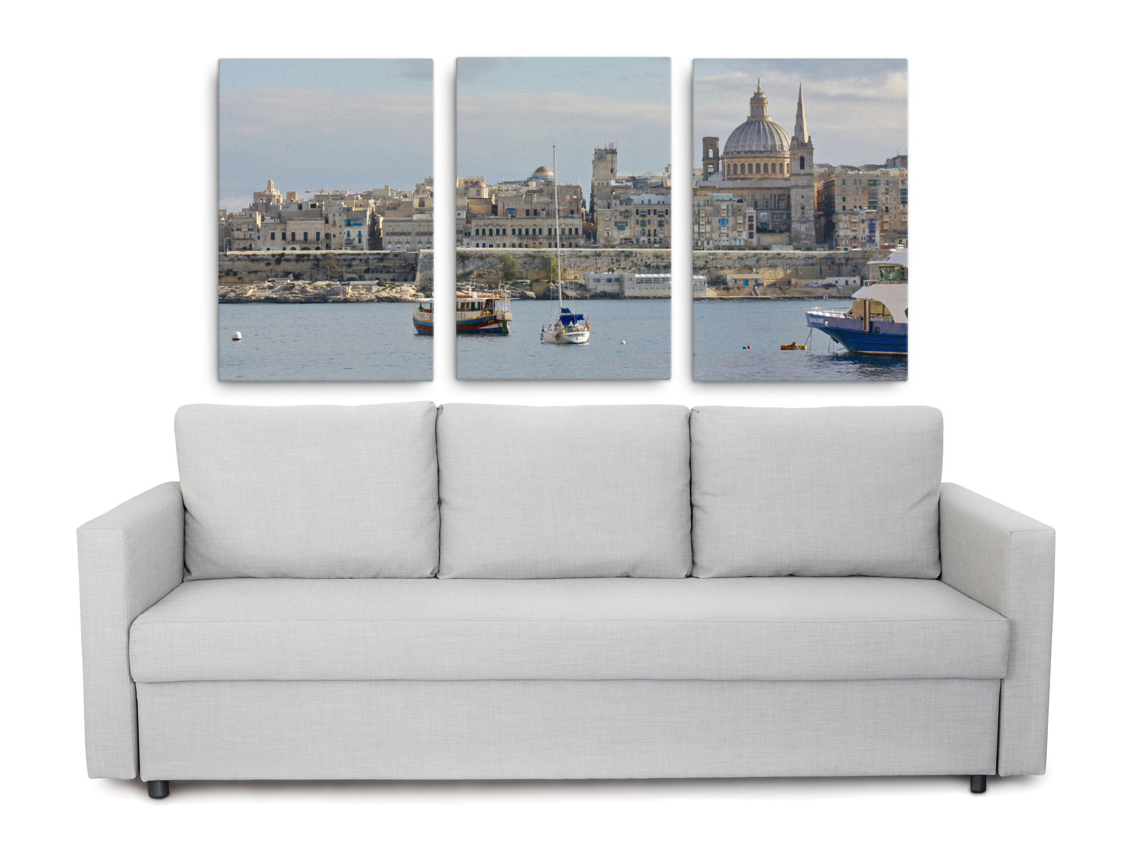 Product images of Valletta Malta images printed on canvas as a 3 piece wall art set